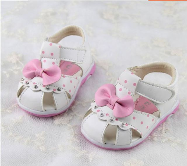 Baby girls summer shoes first walker shoes soft outsole  toddler  bow princess shoes toe cap covering