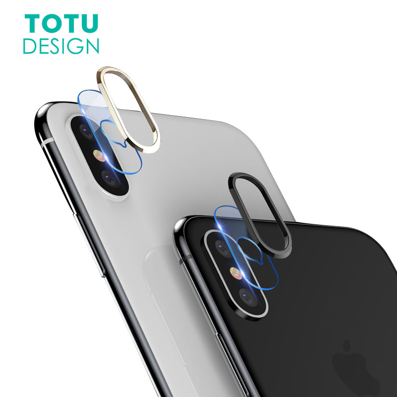 TOTU Transparent Camera Lens Screen Protector For iPhoneX 10 Tempered Glass+ Metal Rear Camera Lens Protective Ring For iPhone X