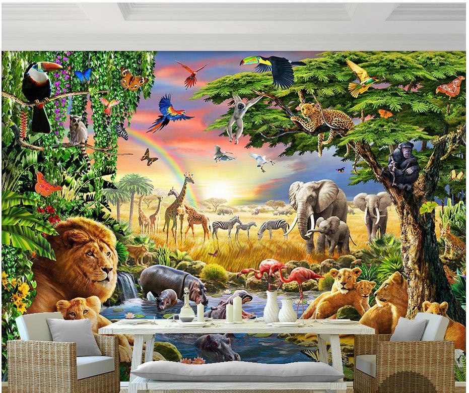 custom 3d photo wallpaper 3d wall mural wallpaper rainbow green woods parrot elephant animal. Black Bedroom Furniture Sets. Home Design Ideas
