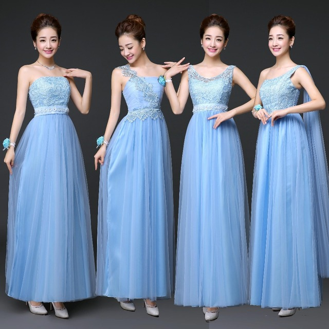 bb5009cddb6 Clearance Sale Elegant Sky Blue Long Bridesmaid Dress one shoulder Formal  Party Dresses SW180504 Promotional price