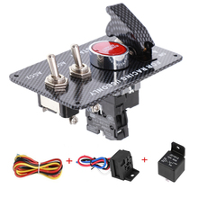 цена на Carbon Ignition Toggle Switch Panel for Racing Car Autos Boat with Engine Start Push Button 12V 20A Panels Red LED light