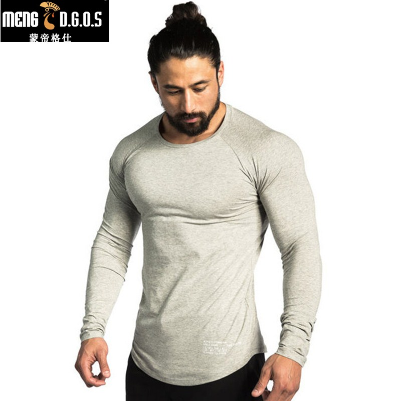 2017 Men Long sleeves 95%cotton   t     shirt   autumn style raglan sleeve casual fashion clothing Slim fit elasticity Fitness tees tops
