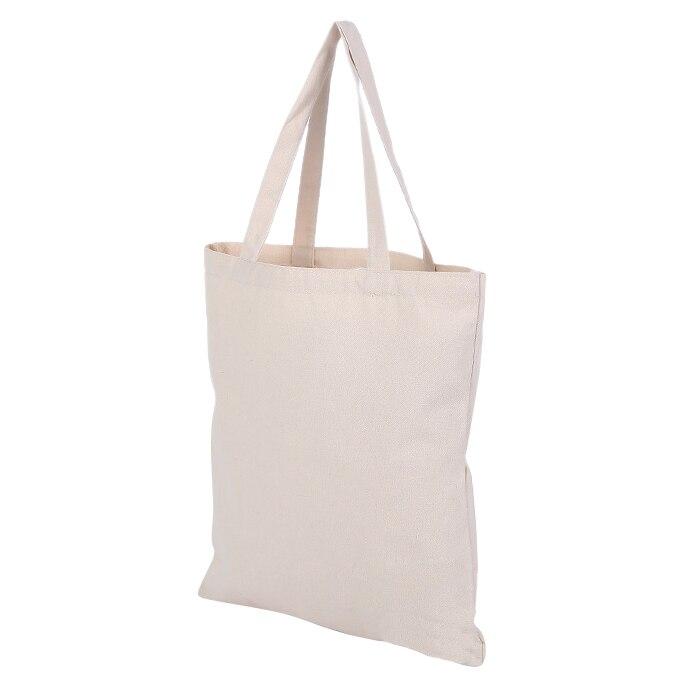 5 Pcs Of Beige Canvas Shopping Shoulder Top Tote Shopper Bag Case Envelope M