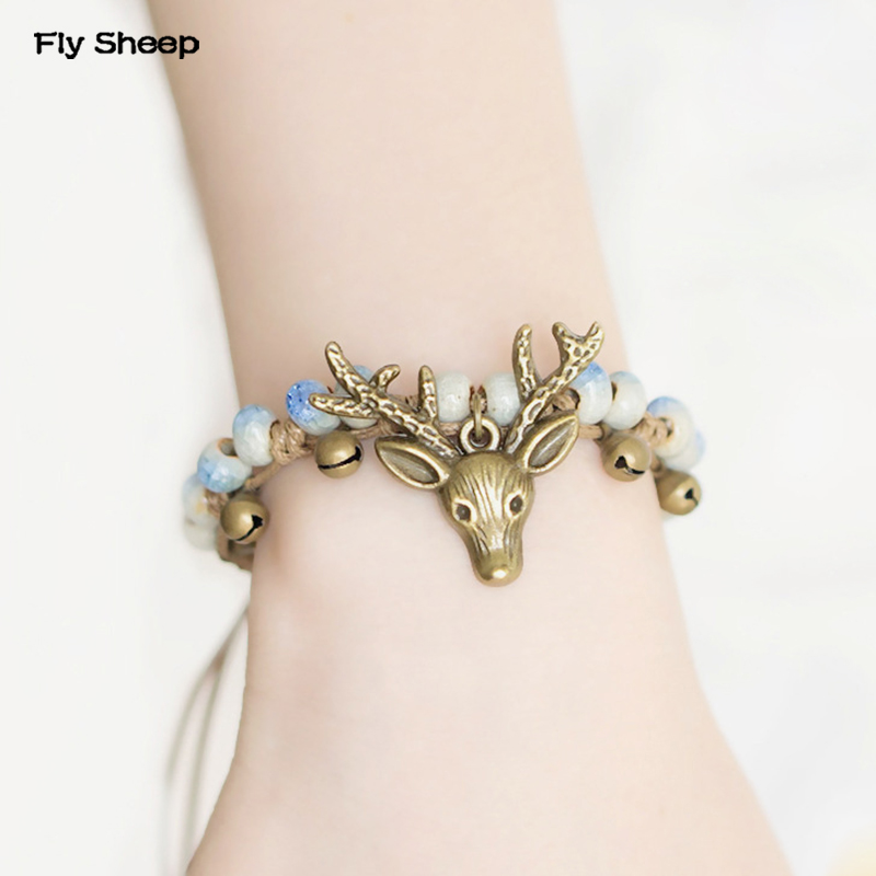 Deer Head Bracelet Female Hand Chains Women National Style Fashion Retro Ceramic Jewelry Draw String Bracelets best friend gifts