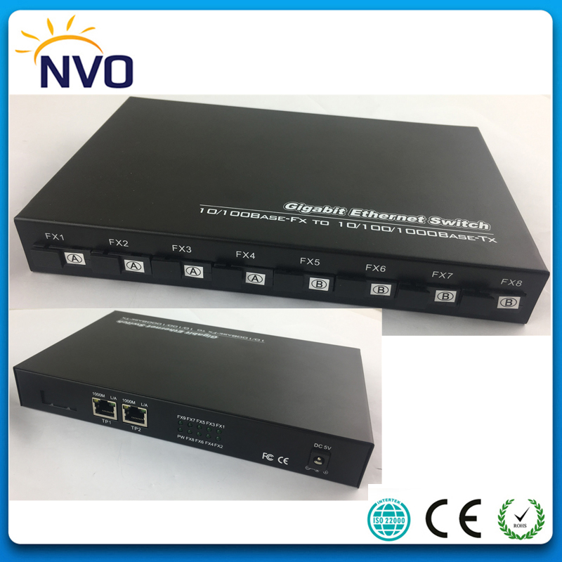 8Fiber 100Mbps+2Port 10/100/1000 RJ45,Single Mode,Simplex,4A+4B side(SC Port),20KM,Euro Power,Unmanaged Fiber Optic Switch  8Fiber 100Mbps+2Port 10/100/1000 RJ45,Single Mode,Simplex,4A+4B side(SC Port),20KM,Euro Power,Unmanaged Fiber Optic Switch