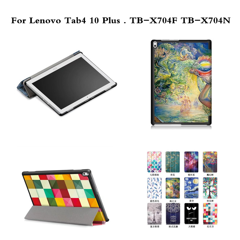 Tab4 10 Plus Painting Magnet close Luxury PU leather Stand case cover for Lenovo Tab 4 10 Plus TB-X704F TB-X704N tablet case luxury flip stand case for samsung galaxy tab 3 10 1 p5200 p5210 p5220 tablet 10 1 inch pu leather protective cover for tab3