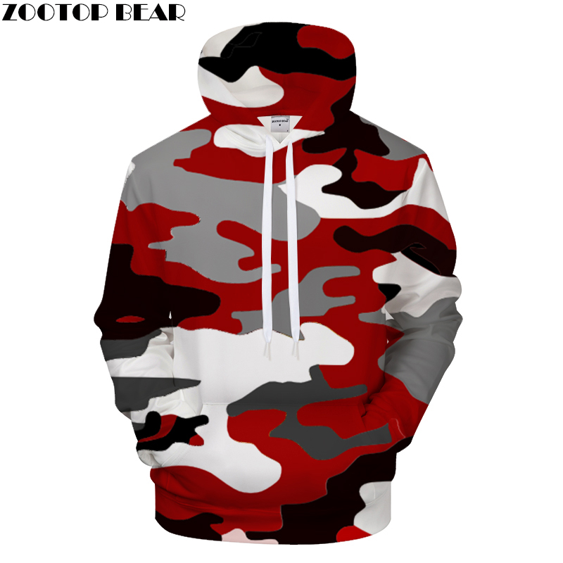 Red camouflage Clothing Printed hoodies Men Women hoodie Brand Sweatshirts Top Funny Streetwear Pullover ZOOTOP Bear Drop Ship