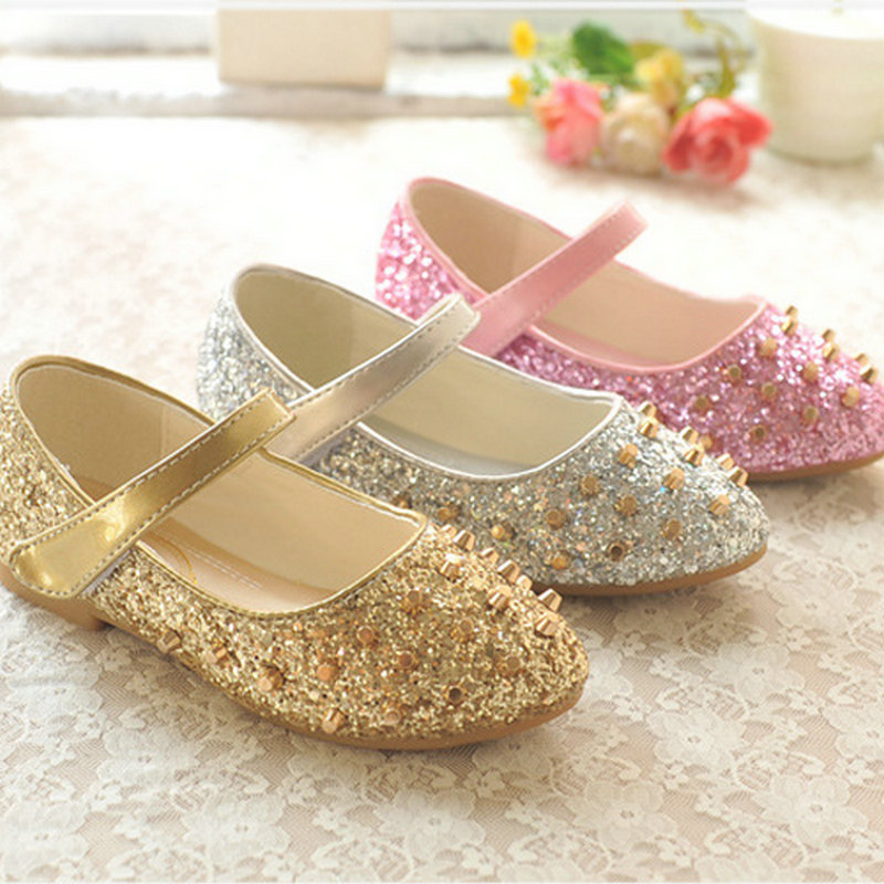 Fashion girls flats shoes princess shoes leather flat bottom wedding shoes childrens party dance shoes for girls