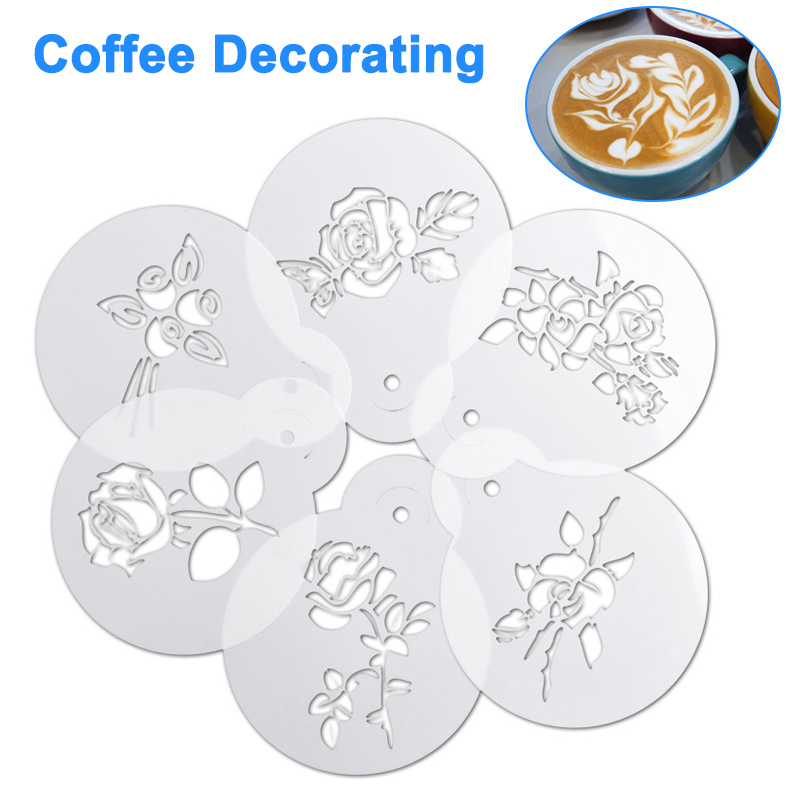 6pcs Coffee Milk Cake  Cappuccino Decorating Stencils Fancy Printing Model Coffee Foam Spray Template