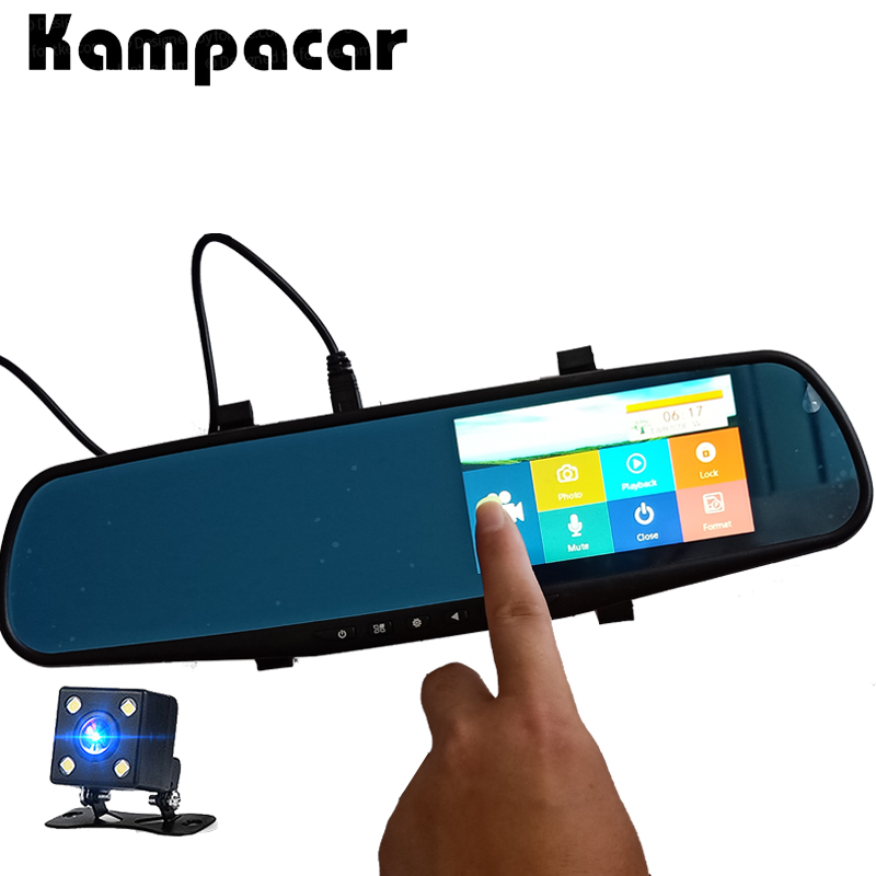 Kampacar 2 Rear View Camera Mirror 4.3 Inch Car Dvr Auto Video Recorder Car DVRs Touch Carcam Dash Cam Full HD 1080P Two Cameras