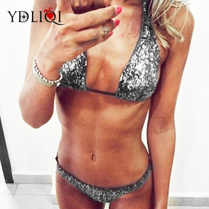 2018 Sexy silver Sequin Bling String Biquini Beachwear Halter Thong Swim Wear Swimsuit B ...