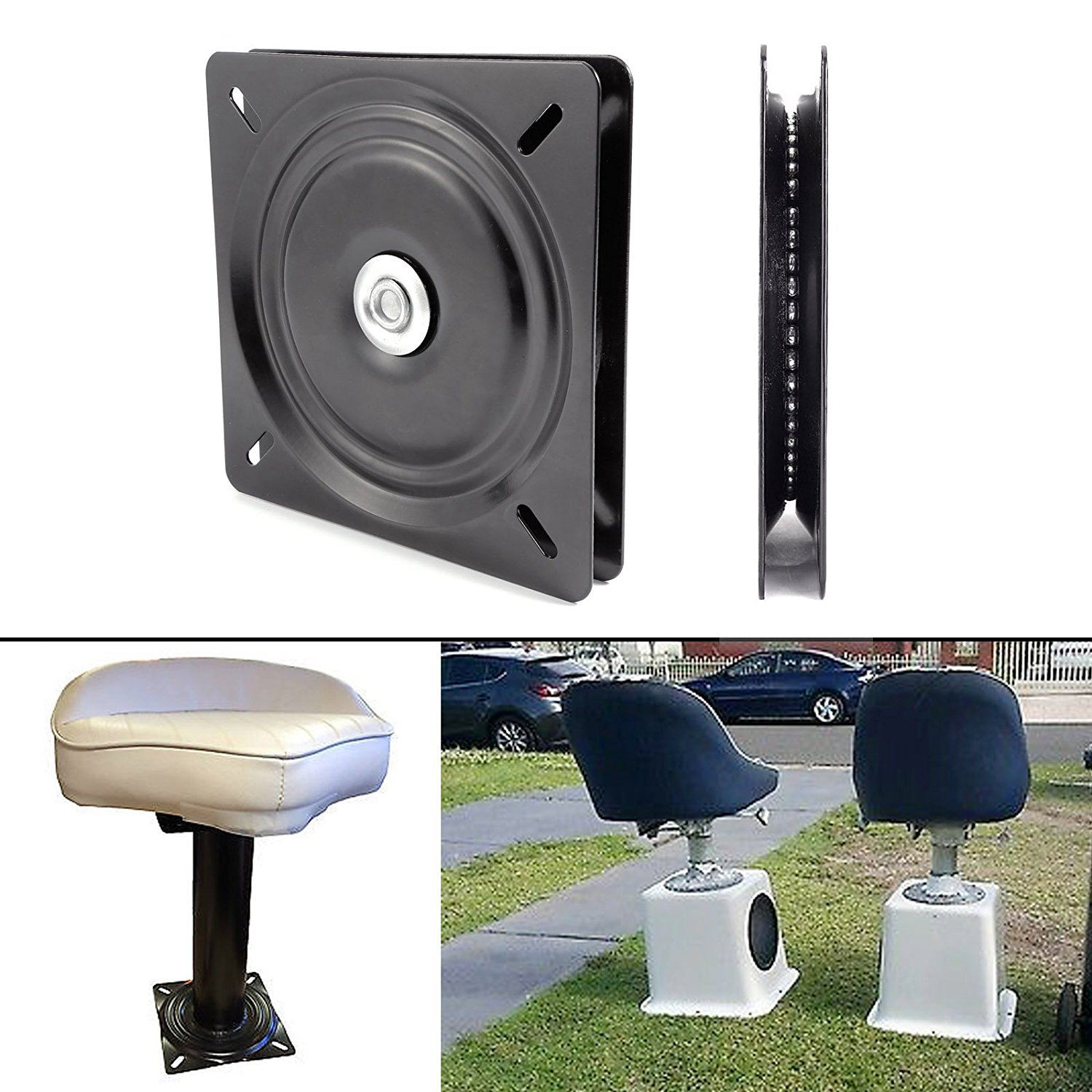 8 Inch Boat Seat Swivel Plate Fishing Boat Marine Seat Rotating Cushion 360 Degree Universal Rotation 20 X 20 X 2 Cm