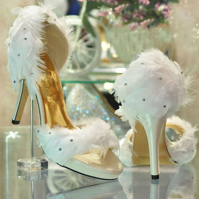 Elegant Fashion Ladies White Satin Feather Wedding Bridesmaid Party Prom Dress Heels Shoes evening party dress shoes 1 design laser cut white elegant pattern west cowboy style vintage wedding invitations card kit blank paper printing invitation