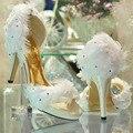 Novo estilo moda feminina cetim branco do casamento da pena da dama de honra Prom vestido sapatos de salto evening partido vestido sapatos