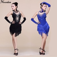 Fringe Latin Dans Elbise Kadın Tango Elbise Salsa Rumba Modern Dans Kostümleri Kadın Latin Elbise Dans Giysi Giyim