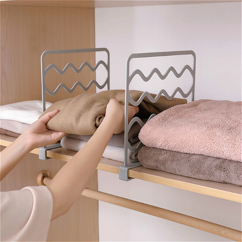 Detachable Wardrobe Storage Shelf Plastic Layered Clothes Finishing Board Multi-layer Compartment Rack Closet Organizer