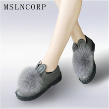 Plus Size 34-45 New Women Shoes Bowtie Rabbit Ears Winter Creepers Real Fur Platform Flats Loafers Slip On Zapatos Mujer