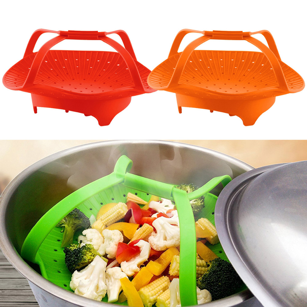 Multifunctional Retractable Folding Steamer Fruit Plate Value Silicone Steamer Kitchen Accessories