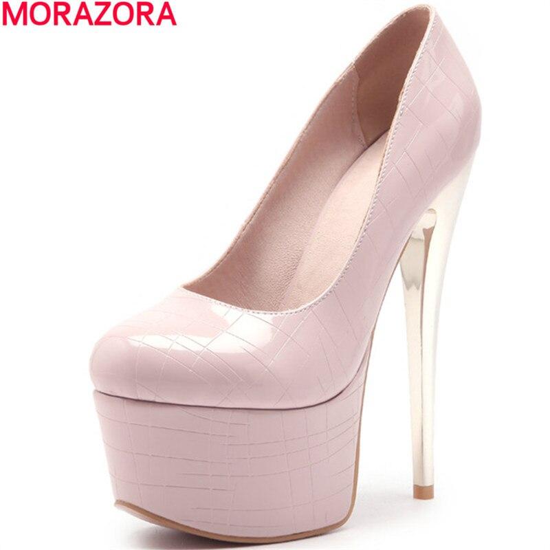MORAZORA fashion women platform shoe pumps spring new arrive party shoes top quality single shoes big