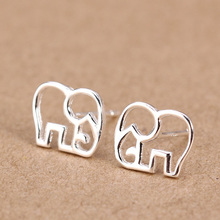 Trusta Women's 100% 925 Sterling Silver Jewelry Fashion cute Tiny Elephant Stud Earrings Gift for Girls Friend Kids Lady  DS27