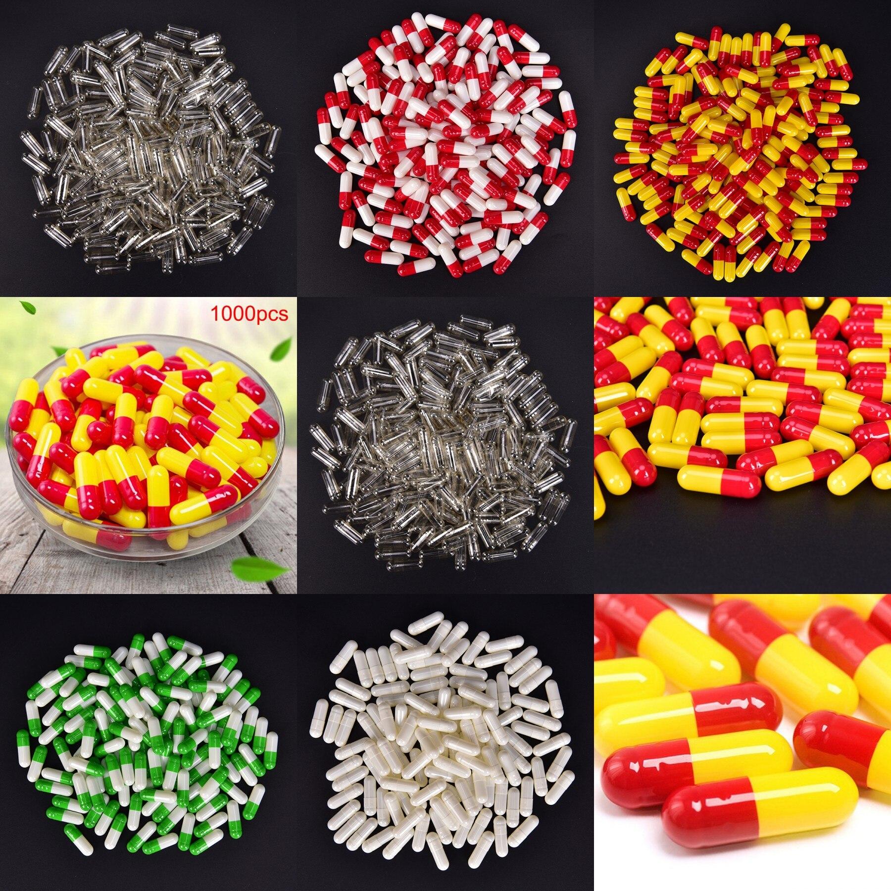 1000 Stücke Transparent Leere Gelatine Kapseln Pille Vcaps Klar Halal Getrennt Box Hohe Qualität Nachfüllbare Flaschen Haut Pflege Werkzeuge