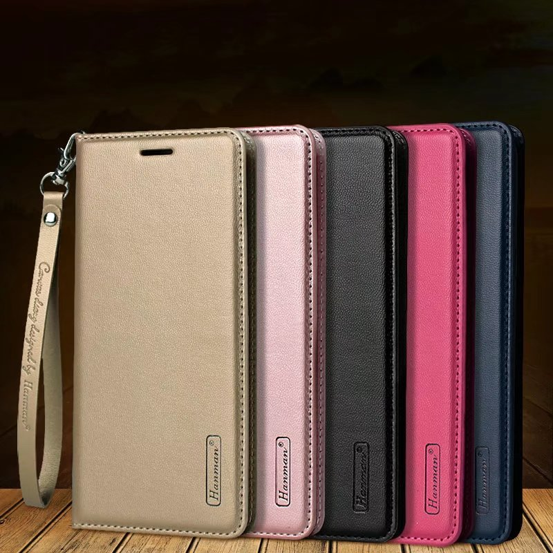 For A6 2018 Hanman Business Hang Rope Series Genuine Leather Wallet Case for Samsung A6 Plus 2018