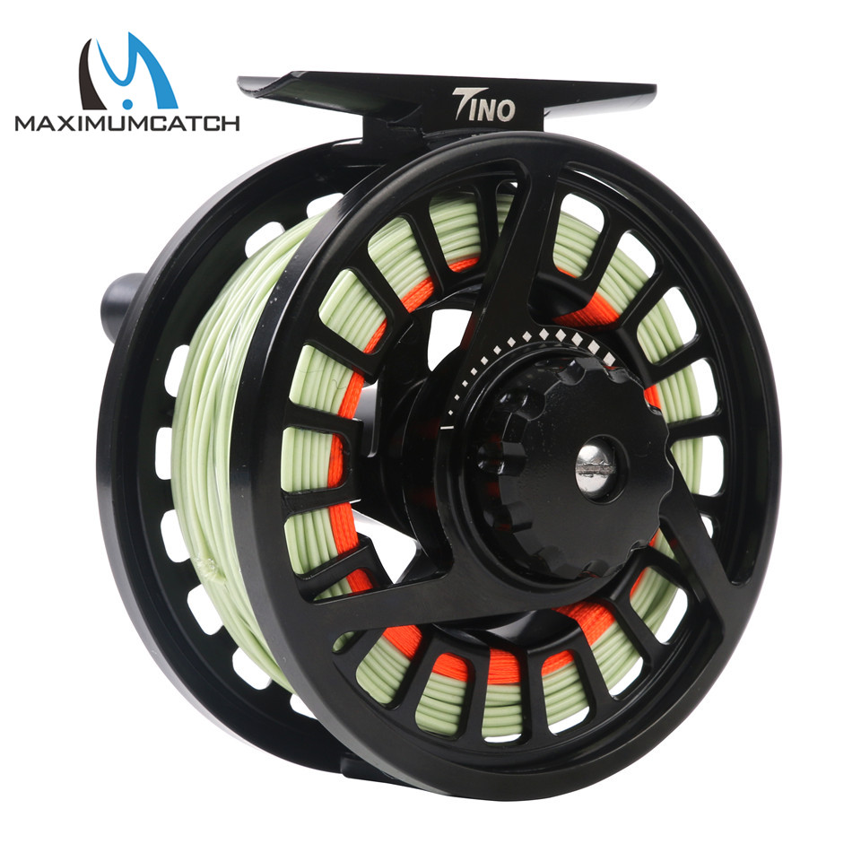 Maximumcatch Tino 5/6wt Die-casting Aluminum Fly Fishing Reel Black Color Fly Reel with 5/6wt Fly Line Combo fly fly ff179 black