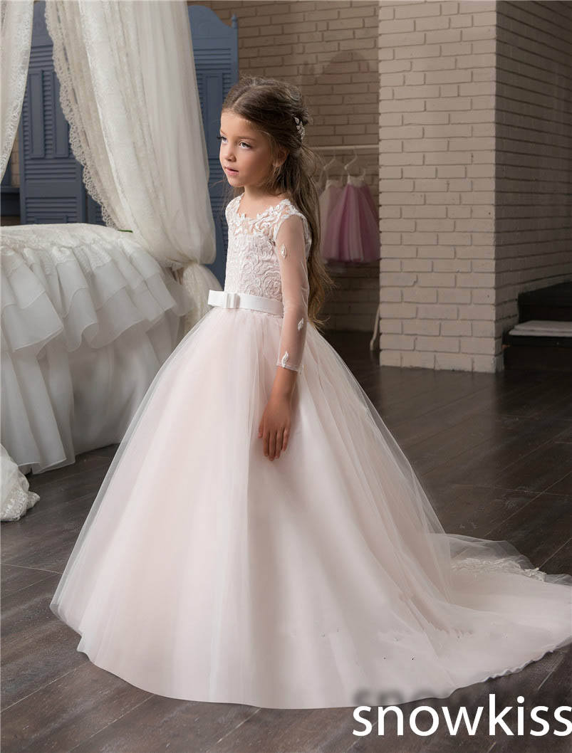 2018 cute blush pink flower girl dresses for wedding with lace appliques long sleeve tulle toddler pageant dresses with train new pink lace appliques with long train off the shoulder sheer tulle princess outfit flower girl dresses for wedding and party