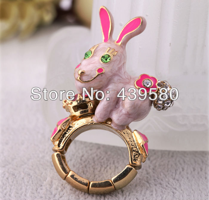 Gold Color Fashion Enamel Rabbit Ring