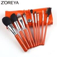 Zoreya Marke 9 teile/satz pferdehaar Makeup Pinsel set Oval Make-Up Pinsel als Make-Up Brochas für Kosmetik Tool Kit Pinsel halter