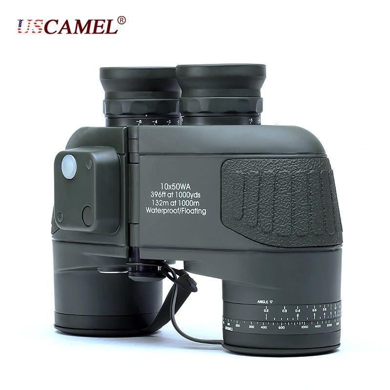 Militaire 10x50 HD Marine Jumelles Zoom Télémètre Boussole Télescope Oculaire Azote Étanche vert armée USCAMEL