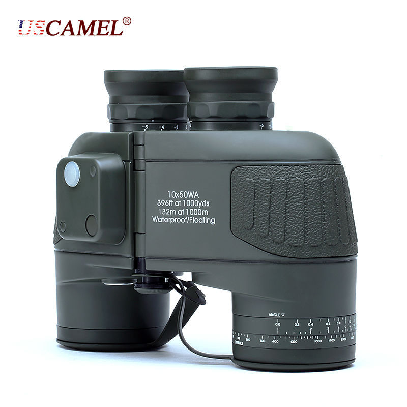 Military 10x50 HD Marine Binoculars Zoom Rangefinder Compass Telescope Eyepiece Waterproof Nitrogen Army Green USCAMEL 10x50 outdoor military binocular army green marine prismatic binoculars hot sale