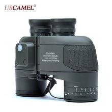 """Binoculares militares 10×50 HD tipo """"Marine"""" con Zoom telémetro brújula telescopio ocular resistente al agua nitrógeno color verde militar USCAMEL"""