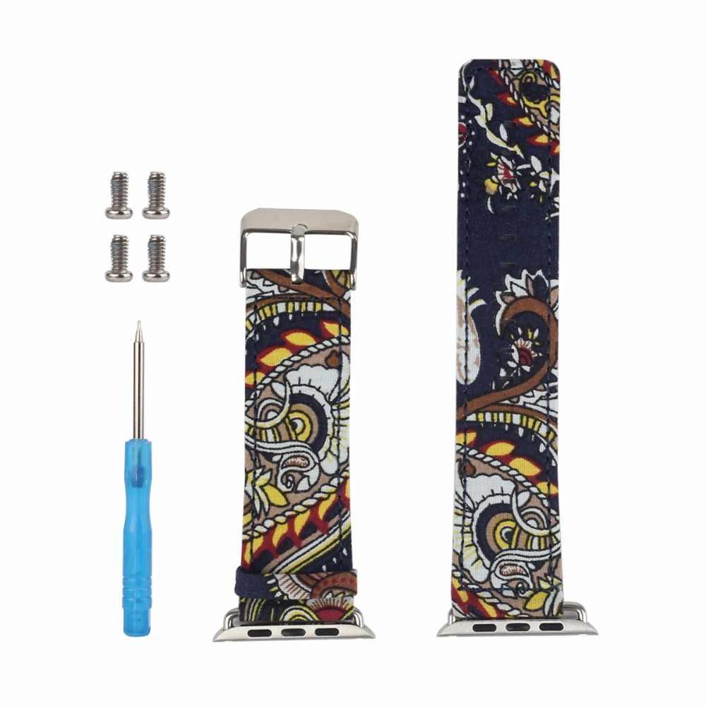 Bemorcabo correa de cuero para Apple Watch 38mm 42mm Serie 3 2 1 correa de flores estampado de muñeca reloj pulsera para iwatch