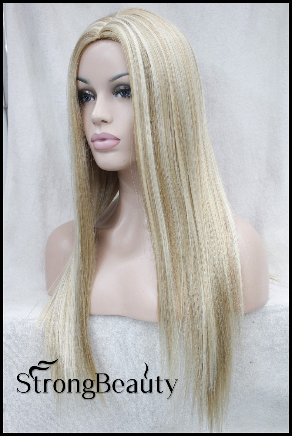 Women Perruque Blonde Wigs Synthetic Hair Long Silk -6431