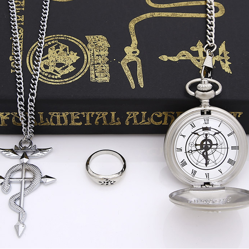 HOT Anime Stainless Steel Pendant Fullmetal Alchemist Edward Pocket Watch with Necklace With Ring Set Cosplay Costume Props