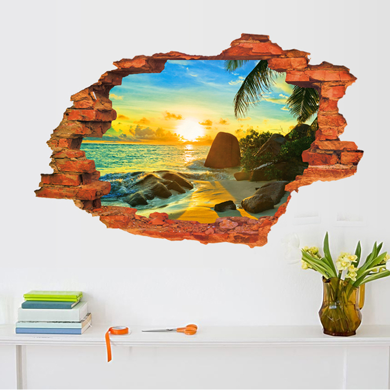 3D Broken Sunset Scenery Seascape Island Wall Sticker Living Room Bedroom Removable Backdrop Home Decoration Decals Art Stickers