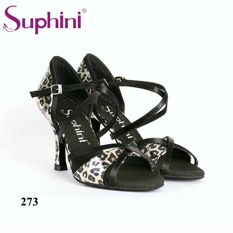 Free Shipping 2018 Suphini Popular Latin Dance Shoes High Flare heel Dance Shoes Party Professional dance shoes
