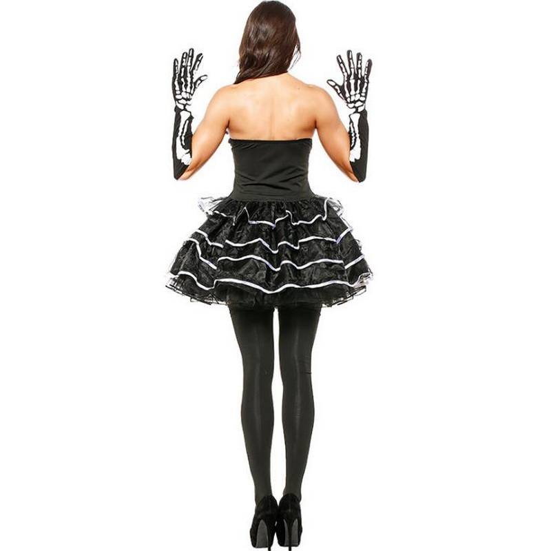 Halloween Adult Women Sexy Skull Short Dress Costume Fantasia Cosplay Dress Queen Terror Theme Party Clothing in Holidays Costumes from Novelty Special Use