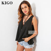 Women Chiffon Tank Top Sexy Black V Neck Summer Sleeveless Sexy Cami Loose Female Tops Backless