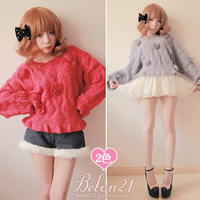 Princess Sweet Lolita Sweater Bobon21 Winter New Arrival Three Dimensional Flower Baimuer Laciness Bat Sweater T0953