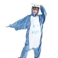Kiguruma Pajamas Owl Animal Sleepwear Halloween Print Embroidered Flannel Fabric Cosplay Costumes Kiguruma