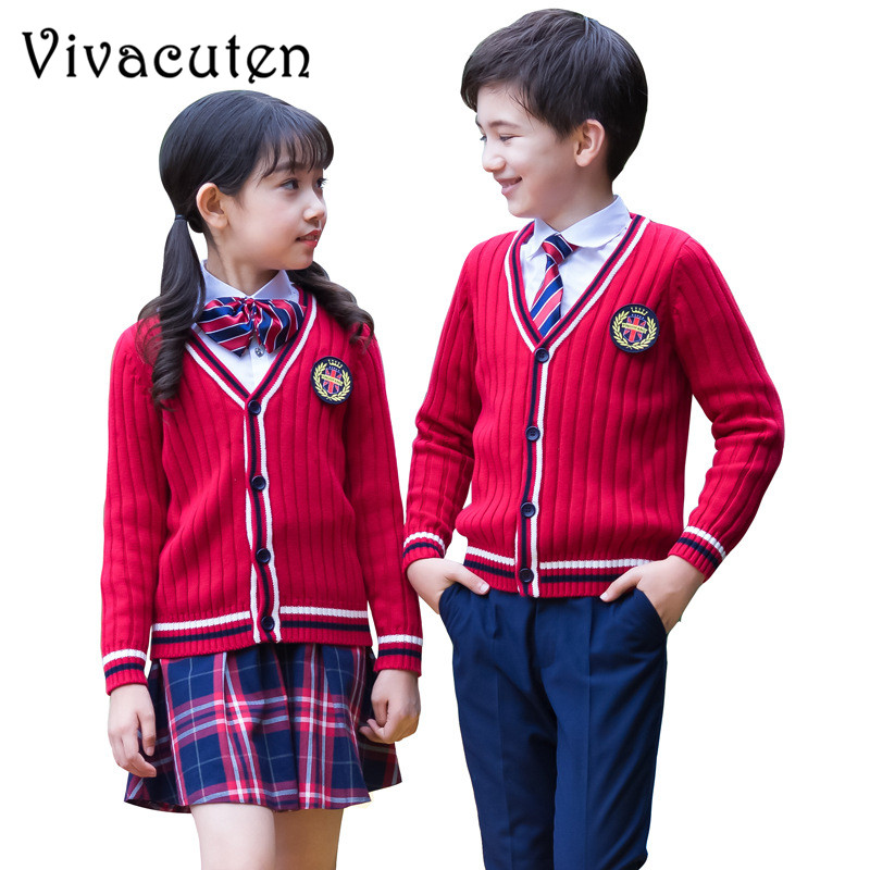 Kids Formal Suit British Style Girls Boys School Uniforms Shirt Sweater Pant Tutu Skirt Set Performing Suit Costume Clothes F110 kids spring formal clothes set children boys three piece suit cool pant vest coat performance wear western style