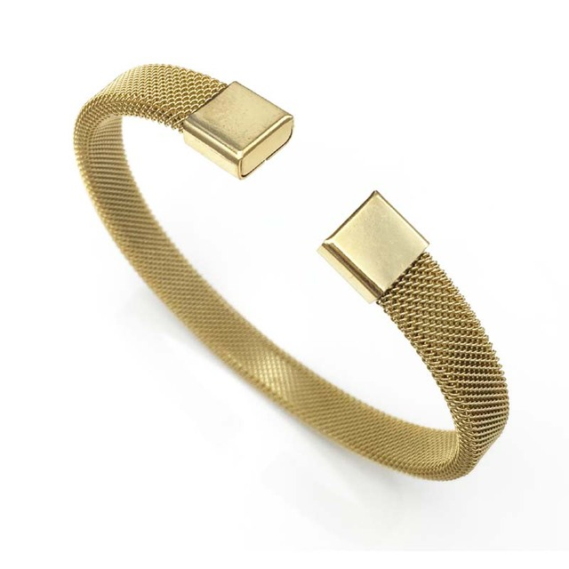 8a9f9bb30d9 8mm width Hot Sell Titanium Stainless Steel Bangle Gold Color Cuff  Bracelets bangle Men Women Open Bangles