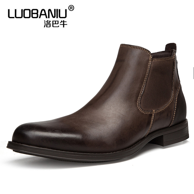 60129646f51 US $56.1 10% OFF|Mens Pointed Toe Chelsea Boots Real Leather Man Slip On  Ankle Boots Business Man Oxfords Autumn Winter Casual Shoes-in Chelsea  Boots ...