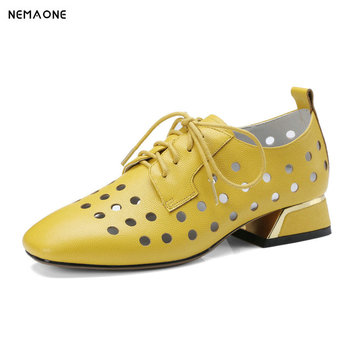 NNEMAONE Genuine Leather Thick Heel Pumps Fashion Square Toe Summer Dress Party Shoes Women Yellow Gray large size 42