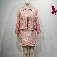 Designer Advanced Custom Square Collar Costume Tweed Short Coat Noble Lady Luxury Shiny Handwork Pearl Beading Jacket Spring Top