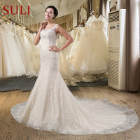 Q 011 Luxury Mermaid Lace Sequins Wedding Dress Crystal