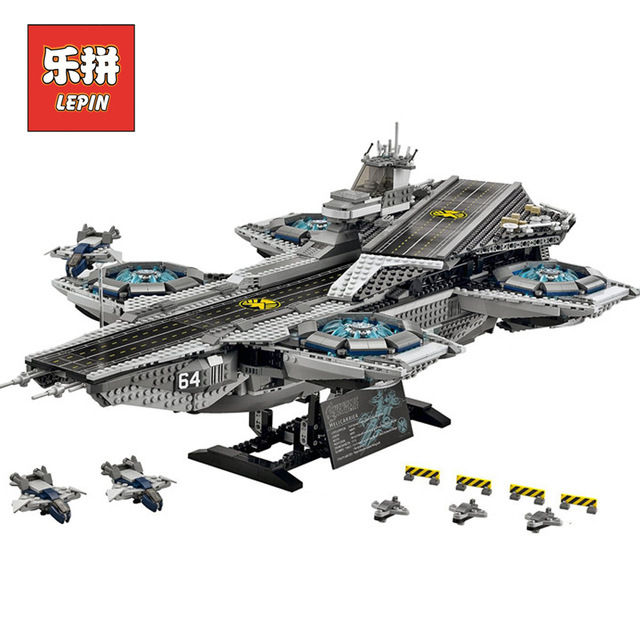 3057pcs LEPIN 07043 Super Heroes The SHIELD Helicarrier Model Building Kits Blocks Bricks Children Day's Toys brinquedos 76042 building blocks super heroes back to the future doc brown and marty mcfly with skateboard wolverine toys for children gift kf197