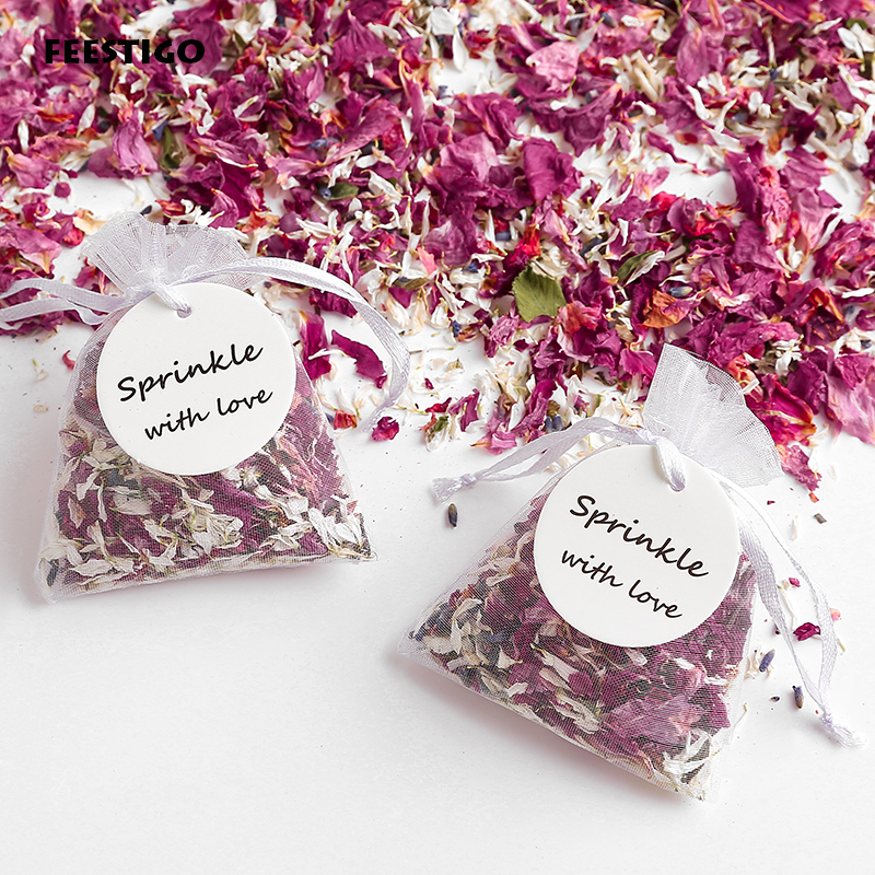 Натуральный Свадебный Конфетти с сумкой из органзы, высушенные лепестки цветов, поп, свадебное и праздничное украшение, биоразлагаемые леп...